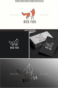 Red Fox Logo Template Vector EPS, AI #design #logotype
