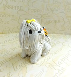 Maltese with Butterfly Maltese art Sculpture Polymer Clay by