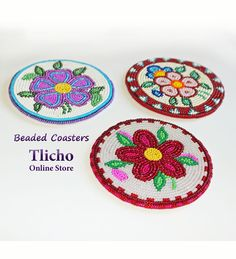 Beaded Coaster by Dora Duncan. $104 available on the Tlicho Online Store at www.onlinestore.tlicho.ca