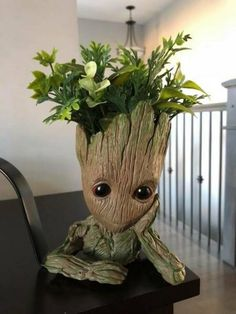 Tagged with groot; Baby Groot Drawing, Flower Art Images, Flower Pots, Flowers, Decoration Piece, 3d Prints, Plant Decor, Clay Art, Wood Carving