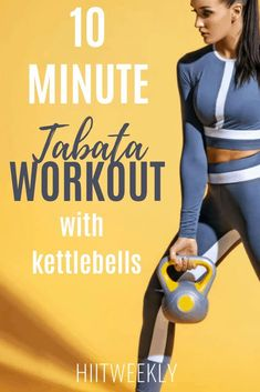 Work your entire body in this 10 minute Tabata workout with kettlebells that you can do at home. The routine consists of 2 Tabata workouts for a quick fat burning workout. Kettlebell Cardio, Kettlebell Training, Tabata Workouts, Kettlebell Challenge, Hockey Workouts, Workout Circuit, Hockey Training, Training Workouts, Training Plan