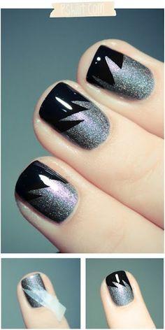 black and sparkle silver broken stripe nail art...x