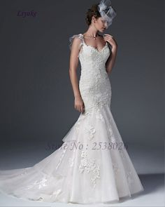Liyuke J609 Attractive Tulle Illusion Back Mermaid Wedding Dress Sweetheart Spaghetti Straps Appliques Lace vestido de casamento
