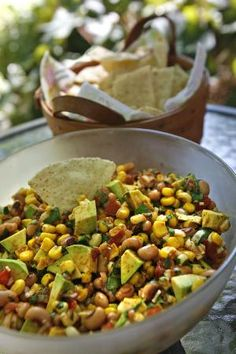 Cowboy Caviar Appetizer --> this dip is served with tortilla chips!