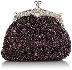 Chicastic Fully Sequined Mesh Beaded Antique Style Wedding Evening Formal Cocktail Clutch Purse - Purple: Handbags: Amazon.com