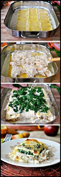 White Cheese & Chicken Lasagna - Nice base recipe! A bit bland, may expedient with more flavors next time.