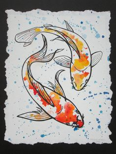 Koi Watercolor and Ink Series 3 by MichelleMeierFineArt on Etsy
