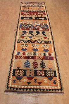 Handgewebter Teppich  370 x 105 cm KILIM KELIM Moderna alfombra oriental