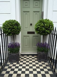 A pair of Lollipop bay trees, underplanted with Salvia, in lead planters and set on black and white chequered tiles. Bay Tree Front Door, Front Door Plants, House Front Door, House Entrance, Front Doors, Bay Trees In Pots, Potted Trees, Garden Front Of House, Garden In The Woods