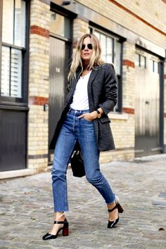 Round sunglasses, red neck scarf, grey blazer, white tee, frayed hem jeans and block heels #style #fashion #streetstyle #fashionmenow