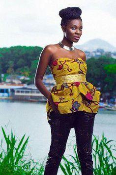 African print strapless peplum top