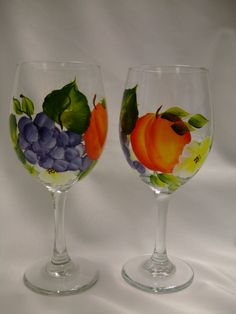 Hand painted peach and grapes  wine glasses by 800ChestnutStreet
