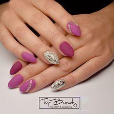 Nail Inspo, Facebook Sign Up, Magenta, Swarovski Crystals, Nailart, Manicure, Glitter, Silver, Beauty