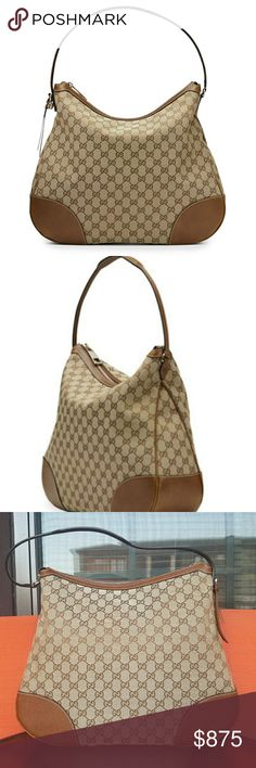 """NWOT Gucci Bree Original GG Canvas Hobo Bag AUTHENTIC Bought two years ago in vegas but has never been used  Brand new condition  Comes with box and dust bag No longer have receipt but poshmark authenticates items over $500 I included stock photos from bergdorf goodman to compare Original GG canvas with leather trim.Light fine golden hardware.Flat handle with 8 1/2"""" drop.Leather string with interlocking G charm.Top zip closure.Interior zip and smart phone pockets.Natural cotton linen…"""