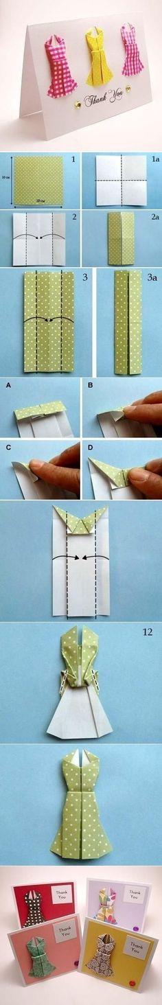 {DIY Origami Dress Thank You Card} ht