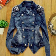 New Women s Denim Jean Trench Casual Coat Hoodie Jacket Hooded Jeans Outerwear W