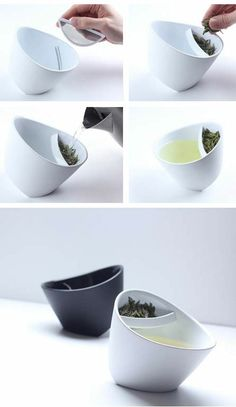 Modern Tipping Tea Cup  With Tea Filter ♥