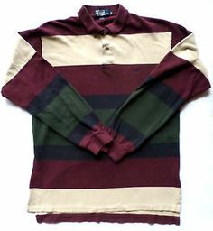 Mens Size L Polo by Ralph Lauren Rugby Shirt, Long Sleeve, Striped Neutral Color. $25