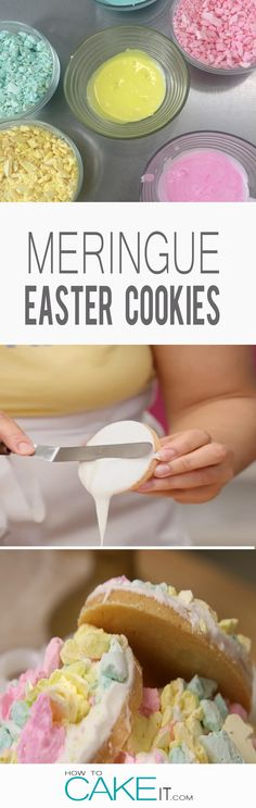 Looking to bake something simple and colourful for Easter? Try these Meringue Easter Sugar Cookies. #Baking #Dessert