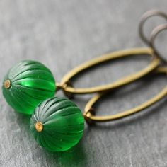 Green Dangle Earrings with Vintage Lucite Beads by WishByFelicity