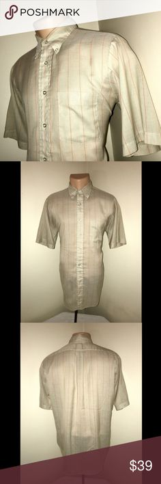 Vintage 1960's Arrow Dracon Cum Laude Shirt 15.5 ALL OFFERS CONSIDERED!!  Description Size: 15.5  Color: Beige and Orange Striped Tag Measurements- None (In with lot of shirts which measure 15.5 on tags) Material: 65% Dracon Polyester / 35% Cotton Condition: Excellent Features: Short Sleeve, Well Kept Vintage Condition, Comfortable and lightweight, Spread Collar, One Front left breast pocket, SHIRT WAS IN STORAGE AND NOT WORN FOR DECADES.  Flaws: None  Measurements:  Chest - 21.5 inches…