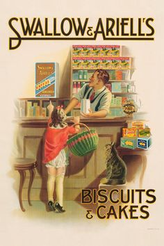 This advertising poster was created by James Northfield for Australia's first biscuit company, Swallow and Ariell. Northfield created advertising posters that were based around pictures rather than text, giving them a lasting appeal. Vintage Advertising Posters, Vintage Travel Posters, Vintage Advertisements, Vintage Ads, Vintage Signs, Advertising Ads, Vintage Labels, Vintage Magazines, Vintage Prints