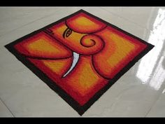 Simple and Unique Free Hand Ganesha Rangoli for Competition