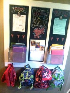 Great idea for staying ORGANIZED when you get home from school! How do you organize all the school stuff? Great idea for staying ORGANIZED when you get home from school! School Organization, Storage Organization, Organizing Ideas, Backpack Organization, Family Command Center, Command Centers, Homework Station, Homework Center, Pinterest Projects
