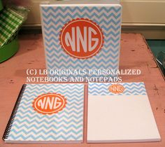Personalized Notebooks & Pad Gift Set by preppypapergirl on Etsy, $50.00