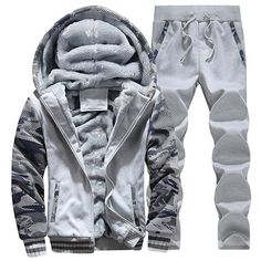 0f145214a9d Tracksuit Men Plus Velvet Camouflage Army Casual Hooded Warm Hoodie Men  Winter Thick Inner Fleece Pant Men Moleton Masculino