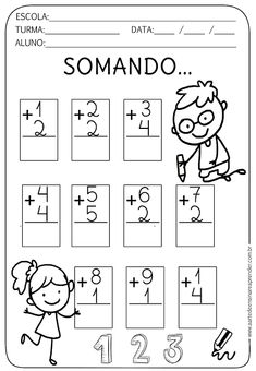 Atividade Pronta - Somando... Kindergarten Addition Worksheets, Kindergarten Math Worksheets, Math Activities, Maternelle Grande Section, Letter Tracing Worksheets, Numbers Preschool, Math Addition, First Grade Math, Math For Kids