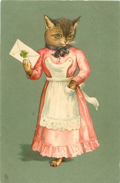 cat dressed in pink stands holding letter