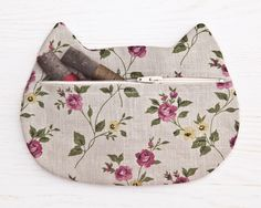 Gray Cosmetics Linen Makeup Bag Flower Cosmetic Cat Pencil Case Cute Zipper Pouch Bridesmaid Gift Bag Gray Cat Boho Cosmetic Bag by JuliaWine on Etsy https://www.etsy.com/au/listing/244395435/gray-cosmetics-linen-makeup-bag-flower