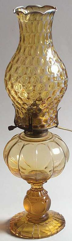 Fostoria Coin Glass Amber Oil Patio Lamp with Globe | eBay