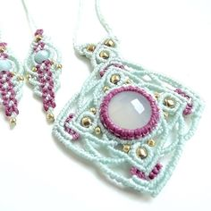 Macrame Mandala Necklace In Mint and Raspberry with Mint