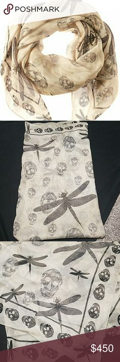 NWT Alexander McQueen Skull & Dragonfly Scarf Absolutely stunning! Purchased fprvmy trip to New York but never ended up wearing 100% Authentic Alexander McQueen scarf. Colors are tan with grayish black skulls and dragonflies. No trades please don't ask me Alexander McQueen Accessories Scarves & Wraps