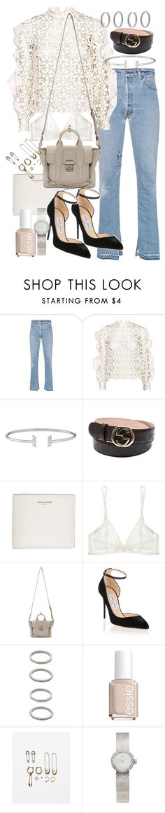 """Untitled #20680"" by florencia95 ❤ liked on Polyvore featuring RE/DONE, self-portrait, Gucci, Yves Saint Laurent, Yasmine eslami, 3.1 Phillip Lim, Jimmy Choo, Forever 21, Essie and Christian Dior"