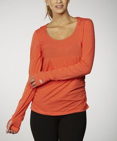 Look at this Spicy Orange Tummy Control Ruched Hoodie on #zulily today!