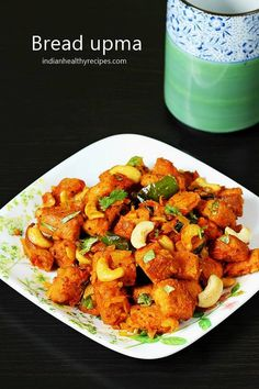 bread upma is a spicy bread snack made with spice powders & onion tomato masala. Serve bread upma for breakfast or snack #breadupma #breadupmarecipe #breadsnack Indian Beef Recipes, Healthy Indian Recipes, Goan Recipes, Tasty Vegetarian Recipes, Spicy Appetizers, Indian Appetizers, Indian Snacks, Bread Snacks Recipe, Snack Recipes