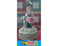Vintage 1973 Fran Mar Moppets Ceramic Little Drummer Boy Music Box $25.00
