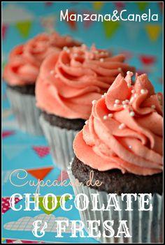 Manzana : Una buena combinación: cupcakes de chocolate con buttercream de fresa