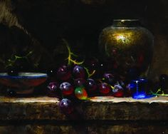 Jeff Legg-Grapes, Brass, and Cobalt - oil painting