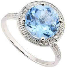 2.09 CT BLUE TOPAZ & 2 PCS WHITE DIAMOND PLATINUM OVER 0.925 STERLING SILVER RING