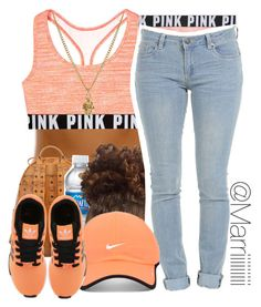 College Track Team Meeting by trill-forlife on Polyvore featuring polyvore, fashion, style, Victoria's Secret PINK, MCM, Zoe & Morgan, NIKE and adidas Originals