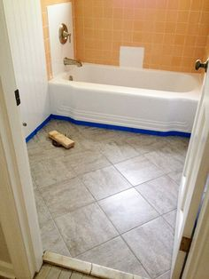 Bathroom Redo: Grouted Peel and Stick Floor Tiles Updating an old bathroom with graoutable peel and stick tiles Bathroom Vinyl, Bathroom Floor Tiles, Small Bathroom, Tile Floor, Stick On Tiles Bathroom, Boho Bathroom, Budget Bathroom, Kitchen Floor, Shower Floor