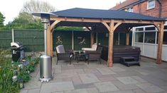 Our heavy-duty wooden Atlas Gazebo is designed to provide the perfect area for your garden, come rain or shine. This focal point is ideal for parties but equally acts as a cover for BBQ's, garden furniture or a hot tub. how to build Wooden Garden Gazebo, Hot Tub Pergola, Gazebo Roof, Gazebo Plans, Hot Tub Backyard, Hot Tub Garden, Backyard Gazebo, Garden Bar, Deck Plans