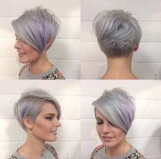 Dove Grey pixie with purple highlights by Emily Anderson