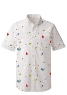 Star-Wars-Disney-Hawaiian-Shirt-Button-Up-Camp-White-Drawn-Print-SS-fitted-S-L