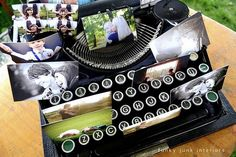 put photos in typewriter - will keep little fingers from wanting to click the keys and is a great way to display photos!