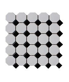 Shapes Octagon Matt White & Black Dot Mosaic Tile